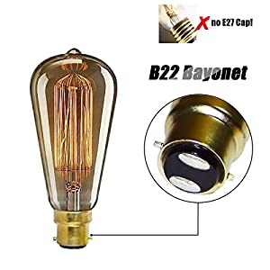 KINGSO Amber Outer Casing Edison Retro Light Bulb Vintage Lamp Tungsten Squirrel Cage-B22 60w 19 Anchors Incandescent Bulbs for Home Light Fixtures Decorative Glass 220V Warm White 2300K by KINGSO
