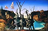 quadri & cornici hb -Salvador DaliReflection Of Elephants Rahmen, Kunstdruck auf Holz, Poster auf Holz, Rand schwarz