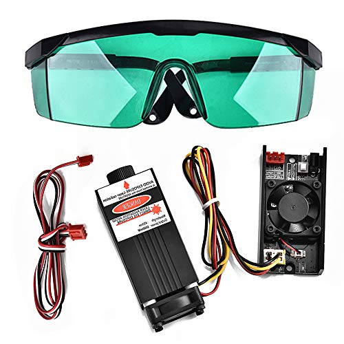 Laser-modul (S SMAUTOP DIY Lasergravurmaschine Mit Brille PWM Control Blau Laser Modul DC 12 V Brennweite Einstellbare Laserkopf (5,5 Watt))
