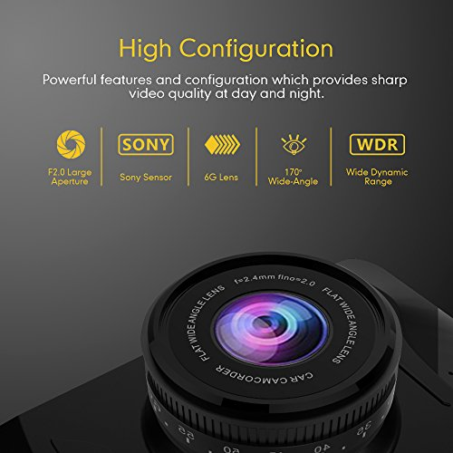 Mibao Dashcam Telecamera per Auto Dash Cam per Auto Camera Car 1080P con 3.0″ LCD, 170 Gradi, G-Sensor, WDR, 6 Glens, Rilevazione di Movimento, Registrazione in Loop,WDR - 3