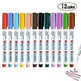Pennarelli per lavagna bianca, cancellabili a secco, punta fine, perfetti per casa, scuola o ufficio, set da 12 colori assortiti