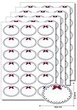 90 Etiketten oval Blauer Rahmen Schleife zum Bedrucken, Beschriften, DIN A4, selbstklebend Marmeladenetiketten Haushaltsetiketten Gewürzetiketten