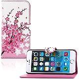tinxi® Kunstleder Tasche für Apple iPhone 6 plus/6s plus (5.5 zoll) Schutzhülle Tasche Flipcase Case Schale Hülle Cover Standfunktion mit Karten Slot Pflaumenblüte