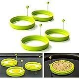 Cisixin Lot de 4 Silicone Anneaux d'oeufs - Moules à Crêpes Antiadhésif - Ronde Moule de cuisson avec poignée pour Friture (Vert)