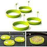 Cisixin 4 Stück Silikon Eierring Rund Form Spiegeleiform für Bratpfanne Eierformer Pfannkuchen (Grün)