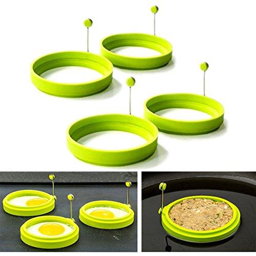 Cisixin 4 Pieza Forma Frito Molde Redondo de Huevo Huevo Anillo de Silicona para Freír Huevos ex Panqueques (Verde)