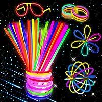 Kimimara Bracelets Fluorescents Lumineux Glow, Bâtons Lumineux Fluorescents avec Connecteurs pour Faire des Colliers et des Bracelets
