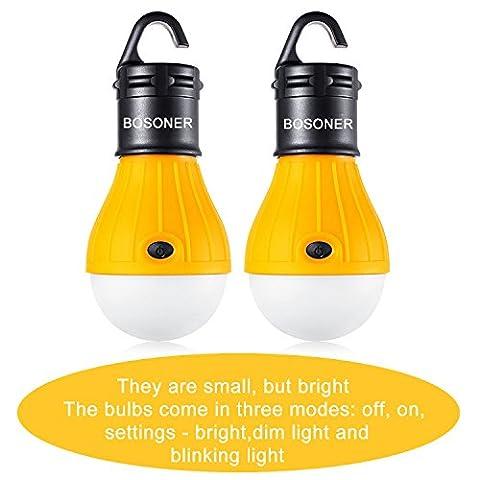 Lanterne à LED pour lampes de camping, portable Hurricane ampoule de lumière de tente d'urgence pour randonnée, pêche lumière d'urgence, alimentation par batterie Camping Gear lampe pour l'intérieur et l'extérieur, portable, compact, résistant à l'eau et cadeau. (lot de 2), jaune