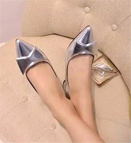 LDMB Women 's flachen Mund dick mit hohen Absätzen Schuhe Lackleder Singles Schuhe Silver