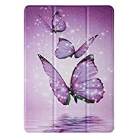 ‏‪Mylne Slim Case for Amazon Fire HD 8 2020,PU Leather + Soft TPU Back Bumper Tri-Fold Stand Smart Tablet Cover with Auto Sleep/Wake Function,Purple Butterfly‬‏