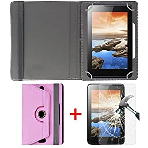 "Hello Zone Exclusive 360° Rotating 7"" Inch Flip Case Cover + Free Tempered Glass for Beltrin Yuva Plus Tab -Baby Pink"