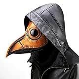 XY Fancy Damen Herren Retro Steam Punk Kostüm Pest Vogel PU Leder Arzt Maske Metall Rahmen Halloween Party Cosplay Requisiten, Orange
