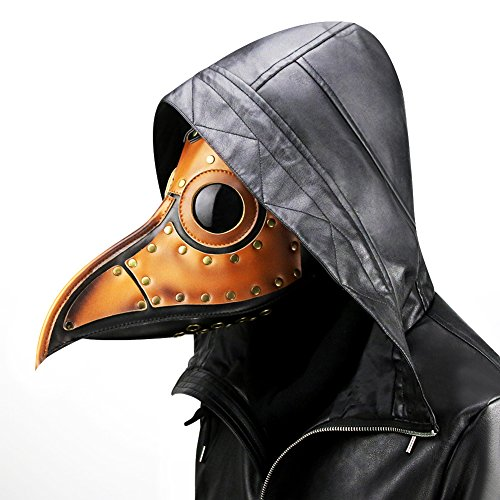 n Retro Steam Punk Kostüm Pest Vogel PU Leder Arzt Maske Metall Rahmen Halloween Party Cosplay Requisiten, Orange (Pest-masken)