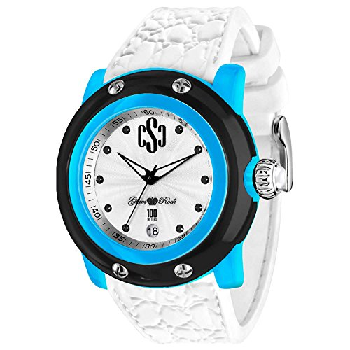 Glam Rock Unisex Miami Beach 46mm White Silicone Band Plastic Case Quartz Analog Watch GR2401