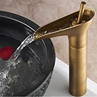 Hiendure®Vintage Style ottone bagno lavabo Rubinetto alto (antico brass)