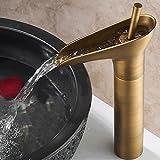 Hiendure® Einhebel- Mischbatterie Wasserhahn Armatur Waschtischarmatur Wasserfall Einhandmischer für Bad Waschbecken (hoch)