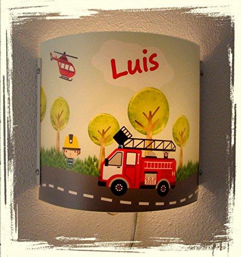 Kinder Leuchte als Wandlampe/Schlummerlicht oder Nachtlicht für Steckdose/personalisiert mit Namen Motiv Feuerwehr