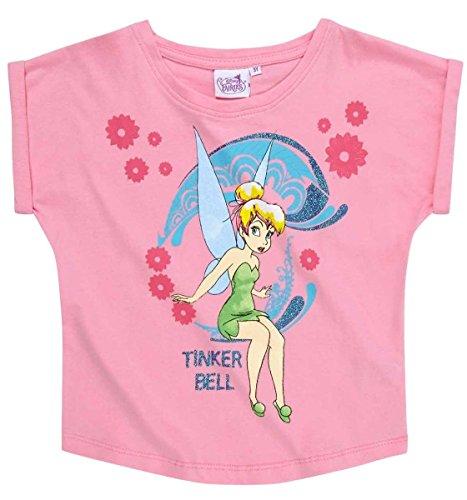 Tinkerbell Mädchen Pyjamas (Tinkerbell T-Shirt Kollektion 2018 Shirt 92 98 104 110 116 122 128 Mädchen Kurzarmshirt Disney Rosa (Rosa, 122-128; Prime))