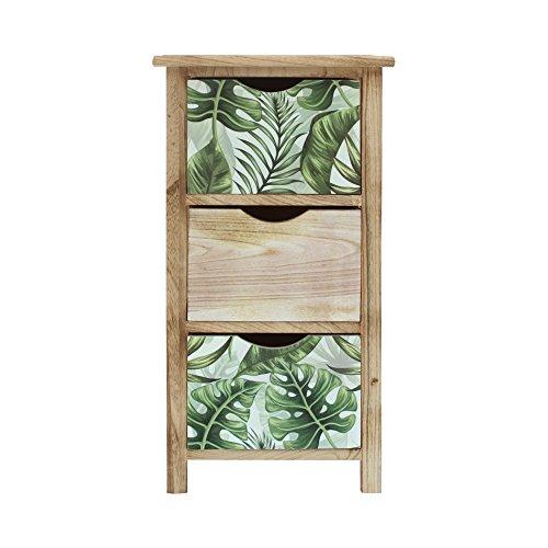 Mobili rebecca comodino cassettiera 3 cassetti legno marrone chiaro verde camera da letto bagno (cod. re6131)