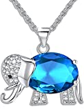 FLORAY Womens and Girls Pendant Necklace Blue Crystal Elephant Best gift for ladies
