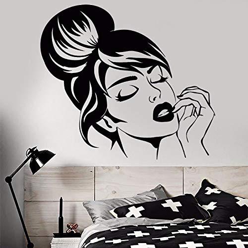 jiuyaomai Vinyl Wandtattoo Schöne Mädchen Gesicht Wandaufkleber Schlafzimmer Dekoration Frisur Make- Up Wandbild Beauty Shop Decor 64x57 cm