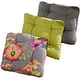Stuhlkissen Set 40x40x8 cm Sitzkissen Stuhlpolster Kissen versch. Farben & Sets (8-er Set, Blumen-Design)