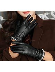 Longless Guantes de cuero de invierno femenina más cashmere cálida conducción de equitación exterior pantalla táctil guantes de estudiante