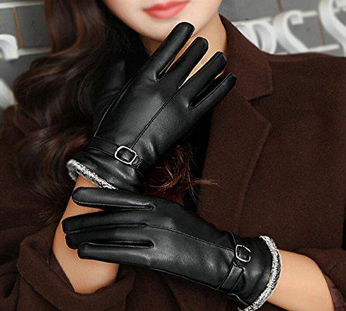 Longless Leder Handschuhe weiblichen Winter plus Cashmere warm Reiten fahren Touchscreen outdoor student Handschuhe Navy Cashmere-leder