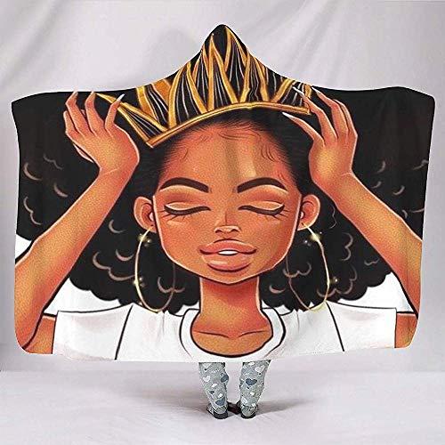 Sanme Black Art Natural Hair Loves Afro-Haare Afro-Lockige Mädchen Rock Black Girl Print Kapuzen-Decken Psychedelic Soft Thick Hood Cloak Cape -