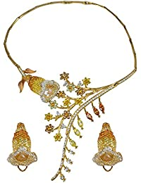 Silvestoo India Multi Color Zircon Gemstone Gold Plated Necklace & Earring Set For Women & Girls PG-125331