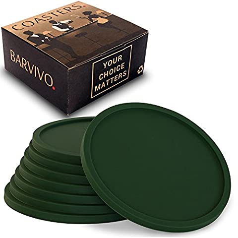 Drink Coasters by Barvivo Set of 8 - Tabletop Protection For Any Table Type, Wood, Granite, Glass, Soapstone, Marble, Stone Tables - Perfect Green Soft Coaster Fits Any Size of Drinking Glasses.