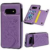 Vogu'SaNa Kompatible für Handyhülle Samsung Galaxy S10e Hülle Wallet Case Flip Cover PU Leder Tasche Schmetterling Muster Schutzhülle Handytasche Skin Ständer Klapphülle Schale Bumper Fächer-Lila