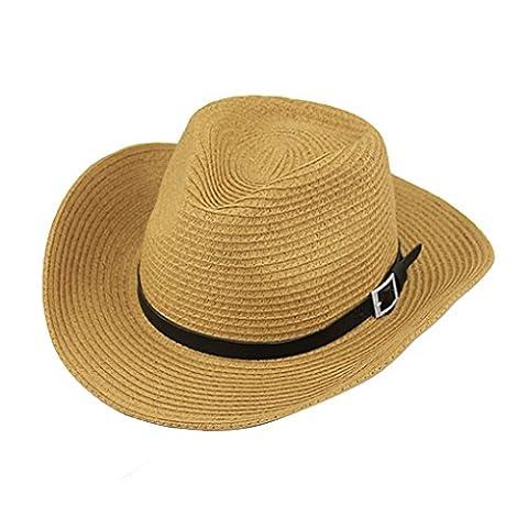 Chapeau de Cowboy Hommes Casquette Visière Large Bord Anti-UV Panama