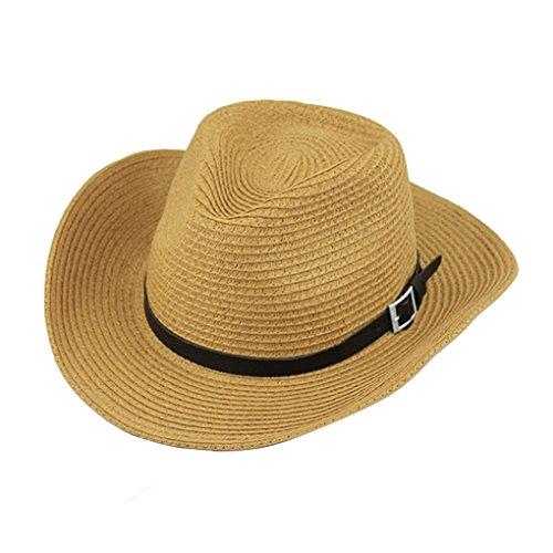 Herren Damen Cowboyhut Westernhut Sonnenhut Strandhut Modehut Sonnenschutz Cowgirl Cowboy Hut Hüte Western Lederband für Erwachsene