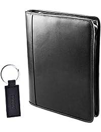 Charmoni - Conférencier A4 Porte Document Carte Divers Bloc Note En Cuir Synthétique Noir Et Porte Clé Charmoni® Neuf Fernand