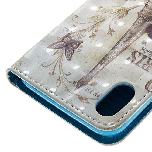 Per iphone X Cover Libro Portafoglio ,OYIME Custodia in Pelle Disegno 3D Glitter Lusso Elegante Originale Antiurto Antiscivolo Antigraffio con Cordino Porta Carta Credito e Chiusura Magnetica Interno  Torre Rose