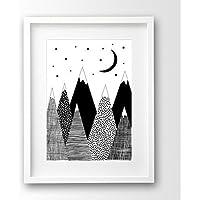 Kinderposter A4 ungerahmt, skandinavisch, Berge schwarz weiß
