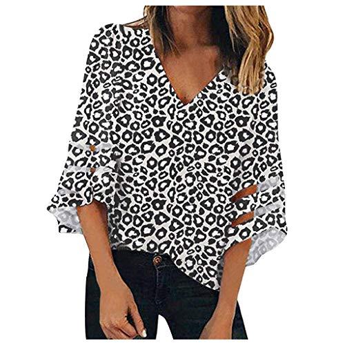 AMUSTER Damen Langarmshirt Lose V-Ausschnitt Tunika Elegant Basic Bluse Shirt Frauen Mesh Panel Bluse 3/4 Bell Sleeve Loose Leopard Print Top Shirt -