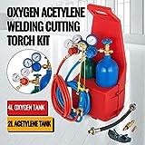 Mophorn Schutzgas-Schweißgerät Professionelle tragbare Schweiß- / Schneid- / Hartlöt-Outfit-Brenner-Kit 4L mit nachfüllbaren Propan-Sauerstoffflaschen mit Kunststofftrage (4L)