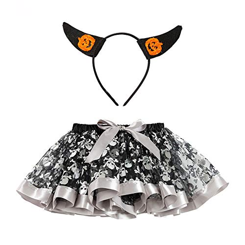 4 Kind Kostüm Scream - Romantic Baby Mädchen Halloween Kostüme Kinder Pailletten Rock Bowknot Tüll Spitze Tutu Rock Mädchen Karikatur Kostüme + Kürbis Stirnband Baby 2er Set Funktionsbekleidung Bereit für Halloween