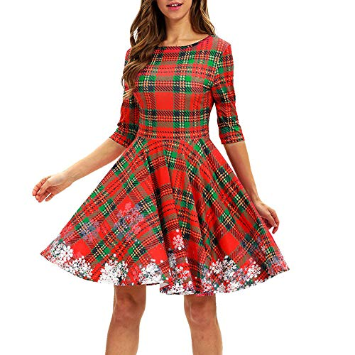 (Sunday Weihnachten Kleid Damen Abendkleider Vintage Party Kleid Hoch Taille Langarm Swing Kleid Knielang Rockabilly Kleid Festlich Kleid Retro Ballkleid)