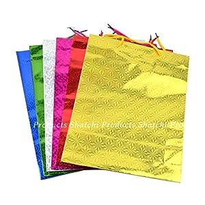 Shatchi 6190-HOLO-GIFT-BAG-MEDIUM-6 unidades de 6 unidades de colores surtidos holográficos regalos tamaño mediano Navidad cumpleaños regalos boda Favor bolsas cualquier ocasión, Multi