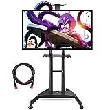 Support TV Pieds ,Suptek noir - Pied à roulettes réglable pour TV LCD / LED / plasma 81 cm -165 cm (32' - 65') jusqu'à 45,5 kg