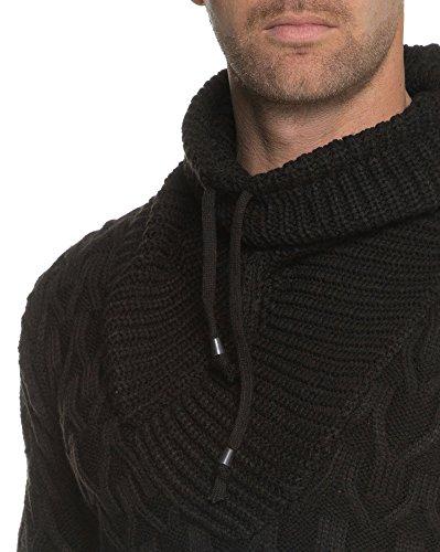BLZ jeans - Pull Noir Grosse Maille Col Boule Noir