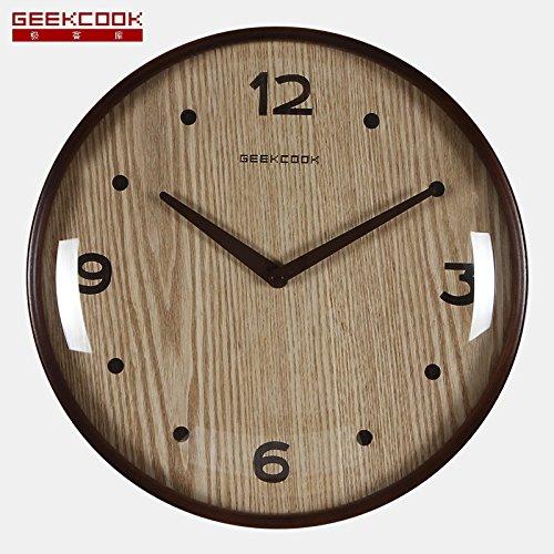 orologio da parete in legno: vetro foresta luna convessa struttura in legno curvato orologio da parete muto ( Color : Brown )