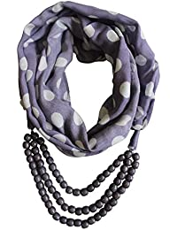 Vozaf Women's Viscose Stoles & Scarves - Purple &White With Polka Dots And Necklace Style