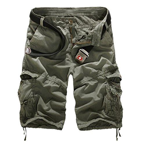 Vertvie Herren Vintage Cargo Hose Bermuda Shorts Kurze Hose Strandhose Knielang ohne Gürtel (31, Grau)