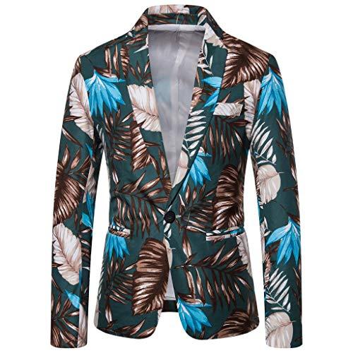 TWISFER Herren Anzug Vintage Ethnic Printed Kleid Floral Slim Fit Blazer Jacke Streetwear Freizeit Gedruckt Baumwolle Anzug Herbst Dünne Jacke (Fischgräten-kleid Baumwolle)