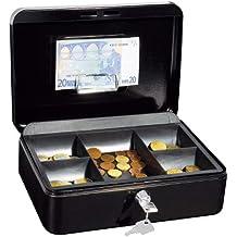 Wedo 321H - Caja metálica para dinero (2 llaves, soporte para monedas desprendible, acero soldado, tamaño 3), color negro