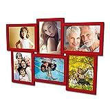 Artepoint 604 Fotogalerie für 6 Fotos 13x18 cm - 3D Optik - Bilderrahmen Bildergalerie Fotocollage Rahmenfarbe Rot